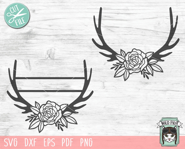 Floral Deer Antlers SVG Antler Monogram svg Antler Last
