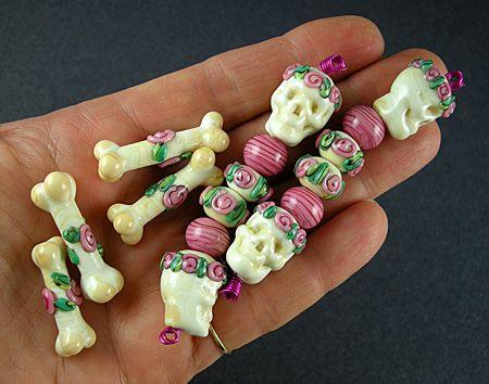 Rainbow Skull Beads Handmade Beads Lampwork Glass Beads Glass Skulls