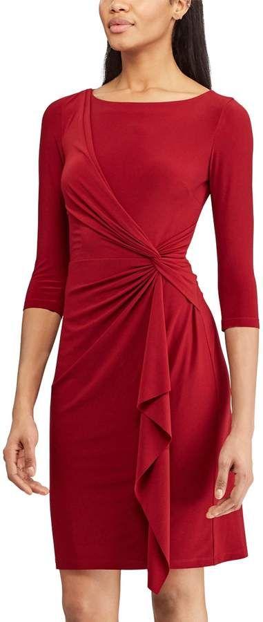 b3553fbb8dc Women s Chaps Knot-Front Ruffle Sheath Dress  womensfashion  fashion  dress