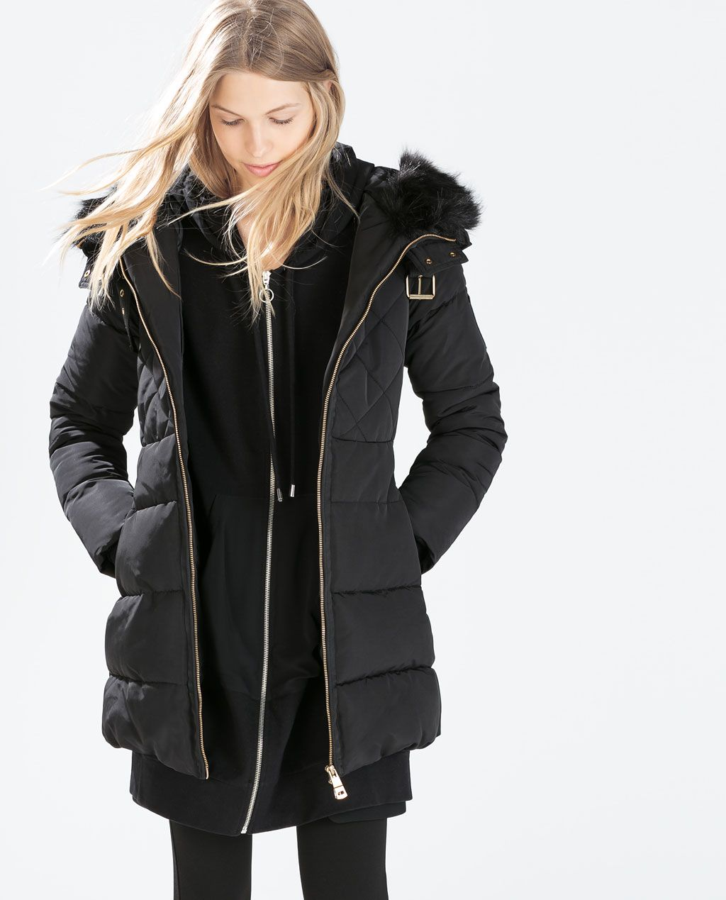 MIDLENGTH DOWN JACKET WITH FUR COLLAR from Zara Jackets