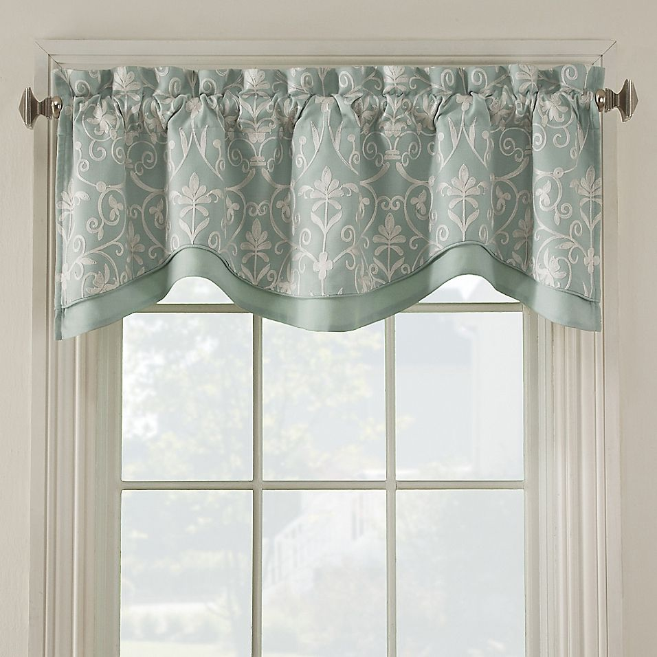 Salisbury Embroidered Valance In Blue In 2020 Valance Window