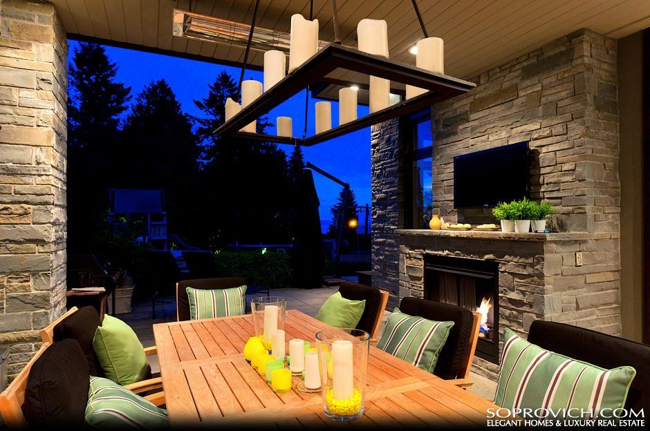 Covered Outdoor Living Area With Bbq Center And Fireplace Metal