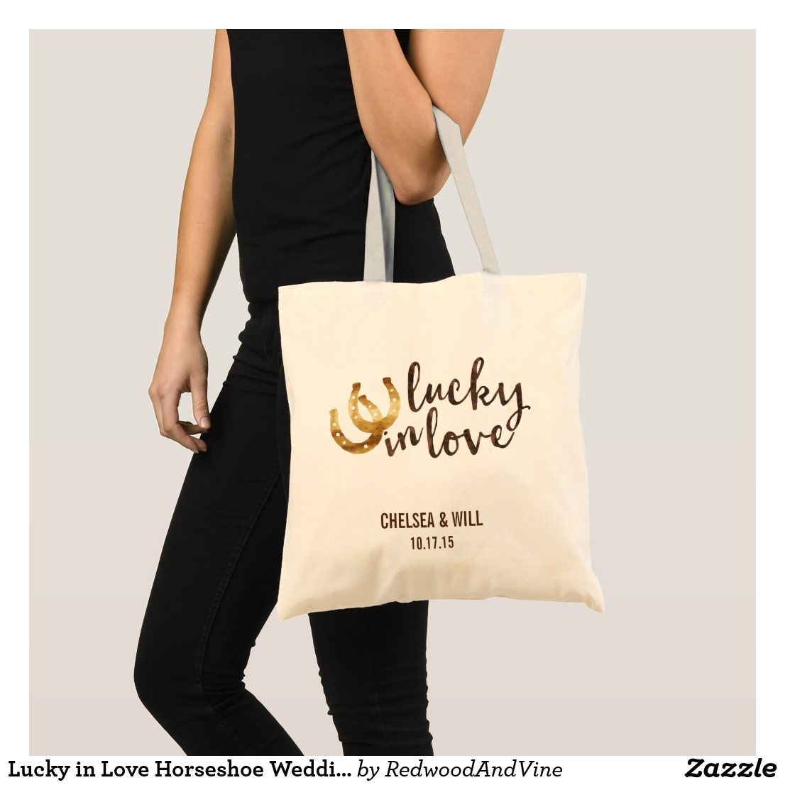 Lucky in Love Horseshoe Wedding Favor Tote Bag | Wedding:Tote Bags ...