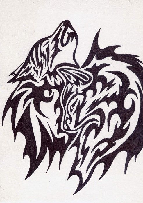 Two Wolves Tribal Tattoo Tribal Wolf Tattoo Wolf Tattoos Tribal Tattoos