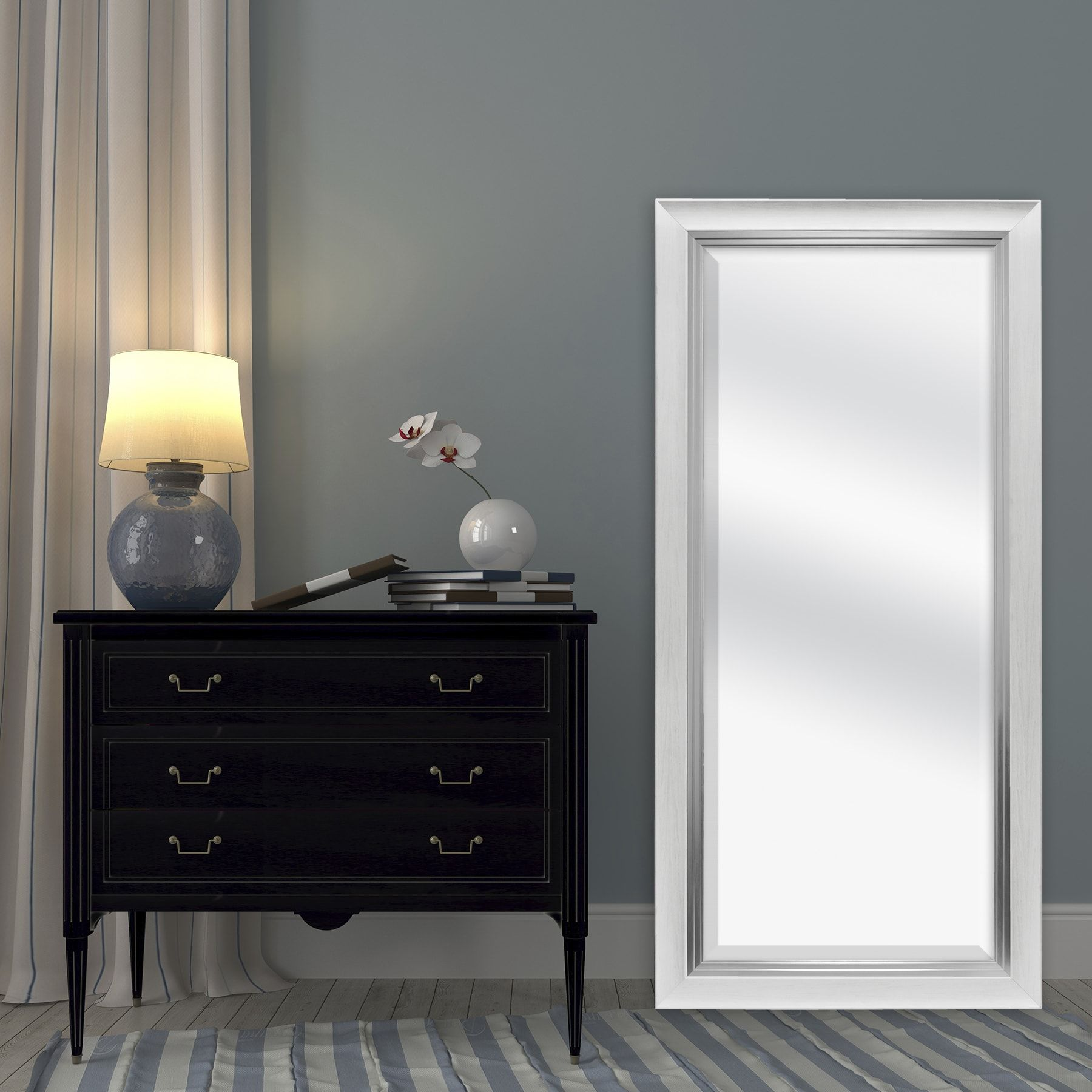 MCS Industries White Woodgrain and Silver Beveled Leaner Mirror