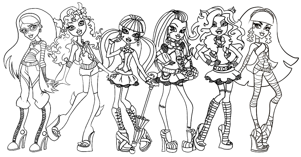 Free Printable Monster High Coloring Pages Ghoulia Lagoona Draculaura Frankie Clawdeen