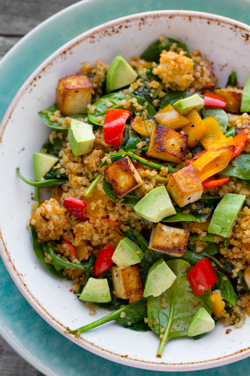 Spicy Southwest Tofu Quinoa Bowl Healthyhappylife Com Quinoa Bowl Recipe Healthy Recipes Whole Food Recipes