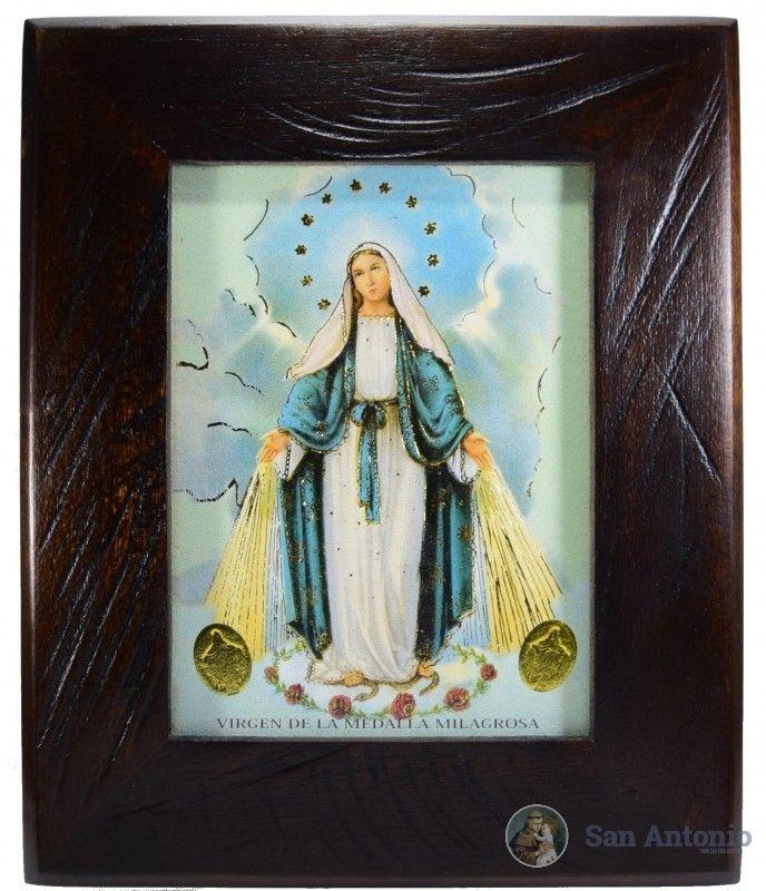 Cuadro De La Virgen Milagrosa: El 27 de noviembre de 1830 la Virgen Santísima se apareció a Santa Catalina Labouré, humilde religiosa vicentina, y se le apareció de esta manera: La Virgen venía vestida de blanco. Junto a Ella había un globo luciente sobre el cual estaba la cruz. Nuestra Señora abrió sus manos y de sus dedos fulgentes salieron rayos luminosos