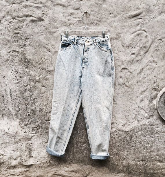 Vintage 80s High Rise Acid Washed Bleached by WhiteCityVintage