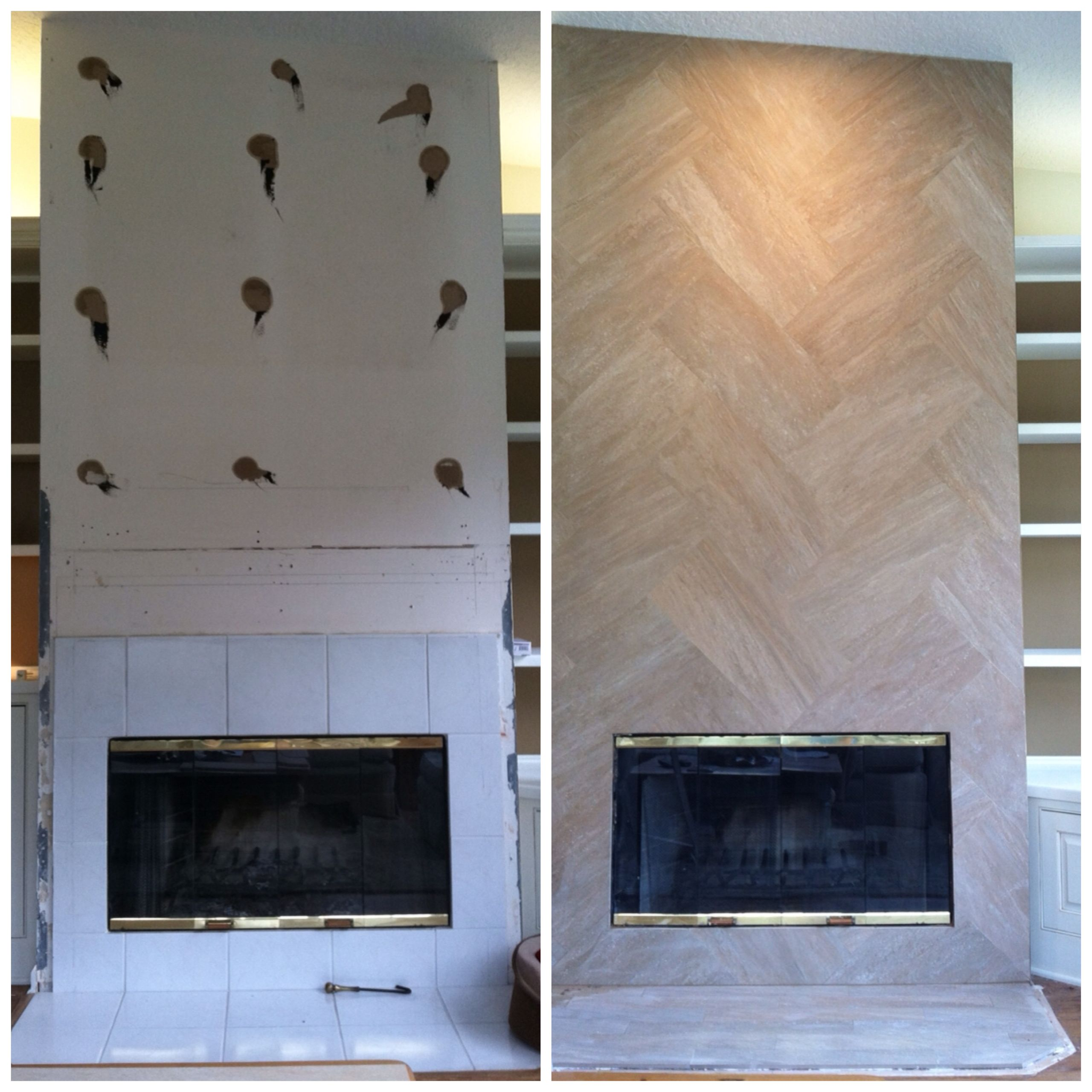 jazz up a fireplace with a 12 x 24 tile installed in a herringbone