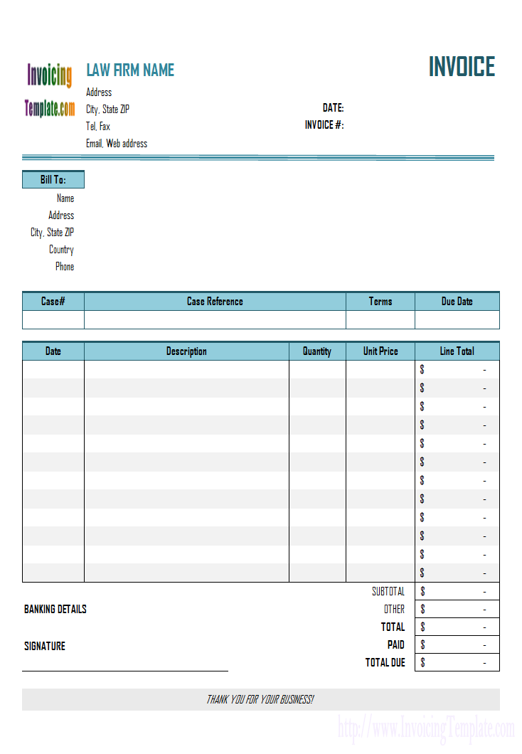 Legal Billing Statement Invoice Template Receipt Template Templates