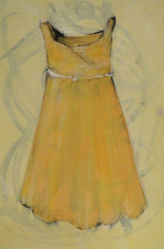 Lemon Yellow Dress Acrylic Painting Original Size by ExArteEcce ...