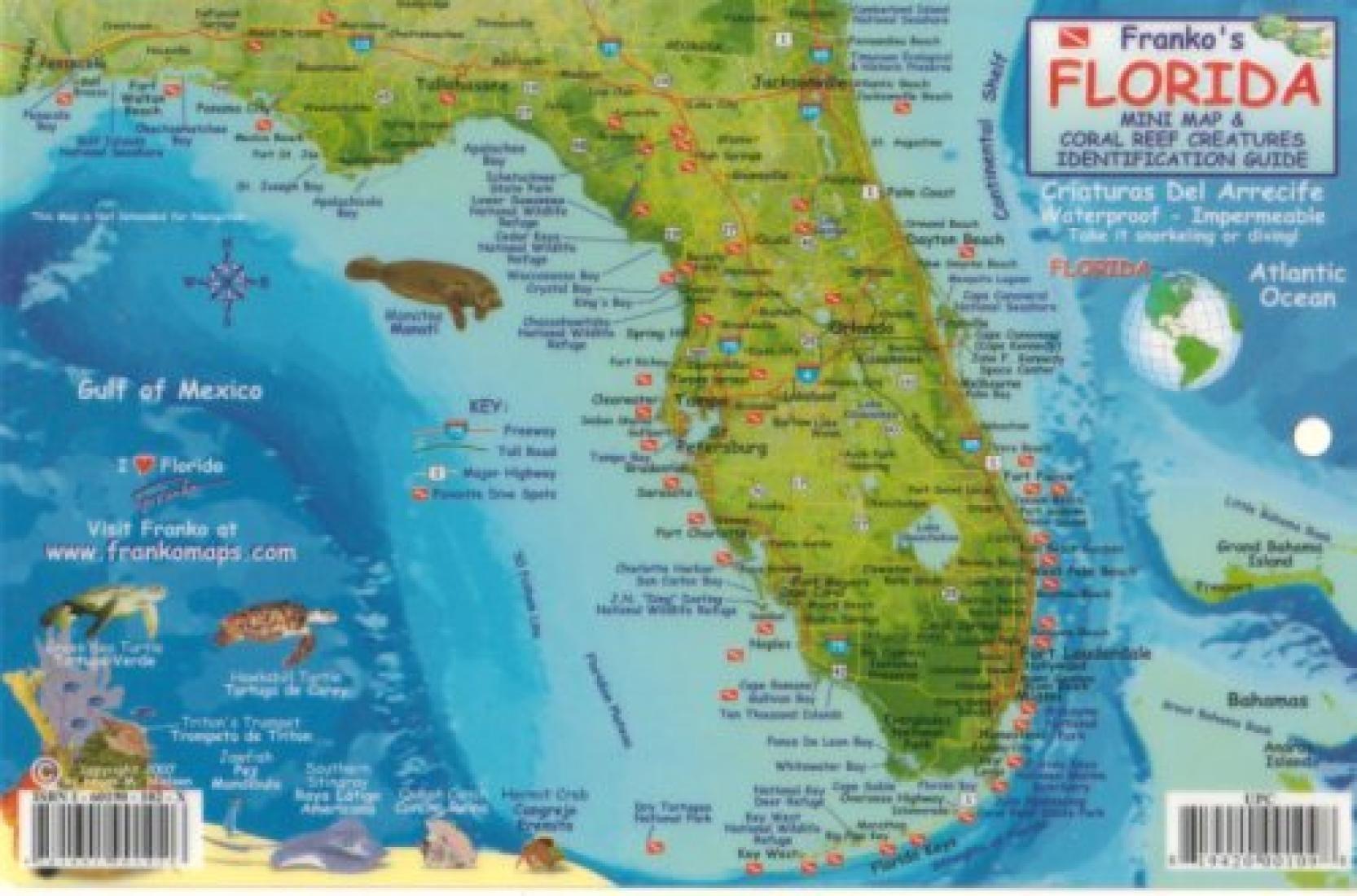 Florida keys fish id card by frankos maps ltd florida
