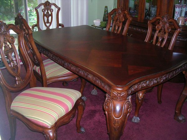 Large Italian Cherry Wood Dining Table And Chairs Dining Table