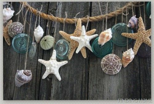 Shells And Starfish Hanging With Urchin Shells Decoration Beach Style With Images Summer Mantel Crafts