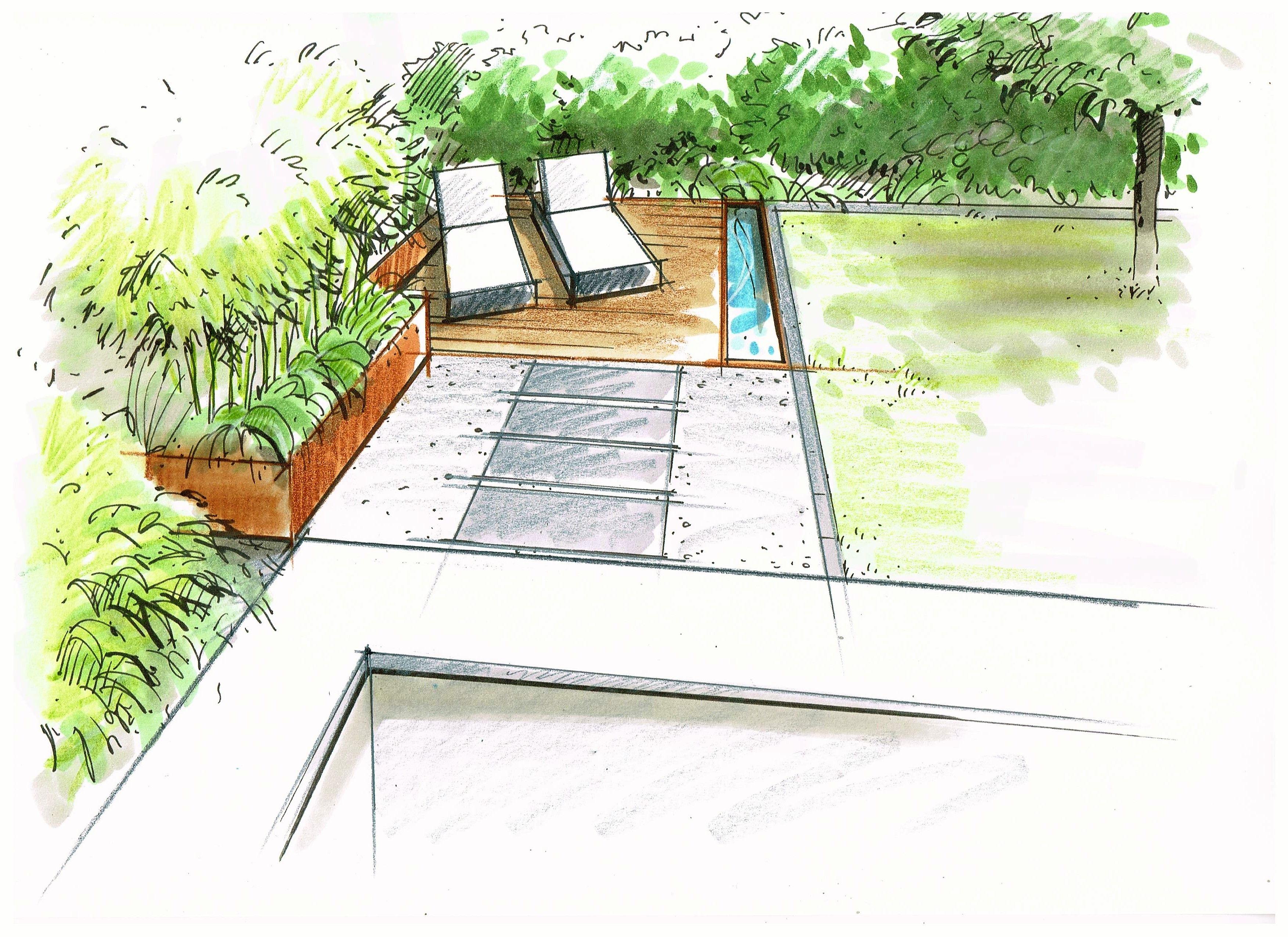 Perspektive Sitzecke Wasserbecken Garten Anne Munstermann Moderne Landschaftsgestaltung Garten Wasserbecken Garten