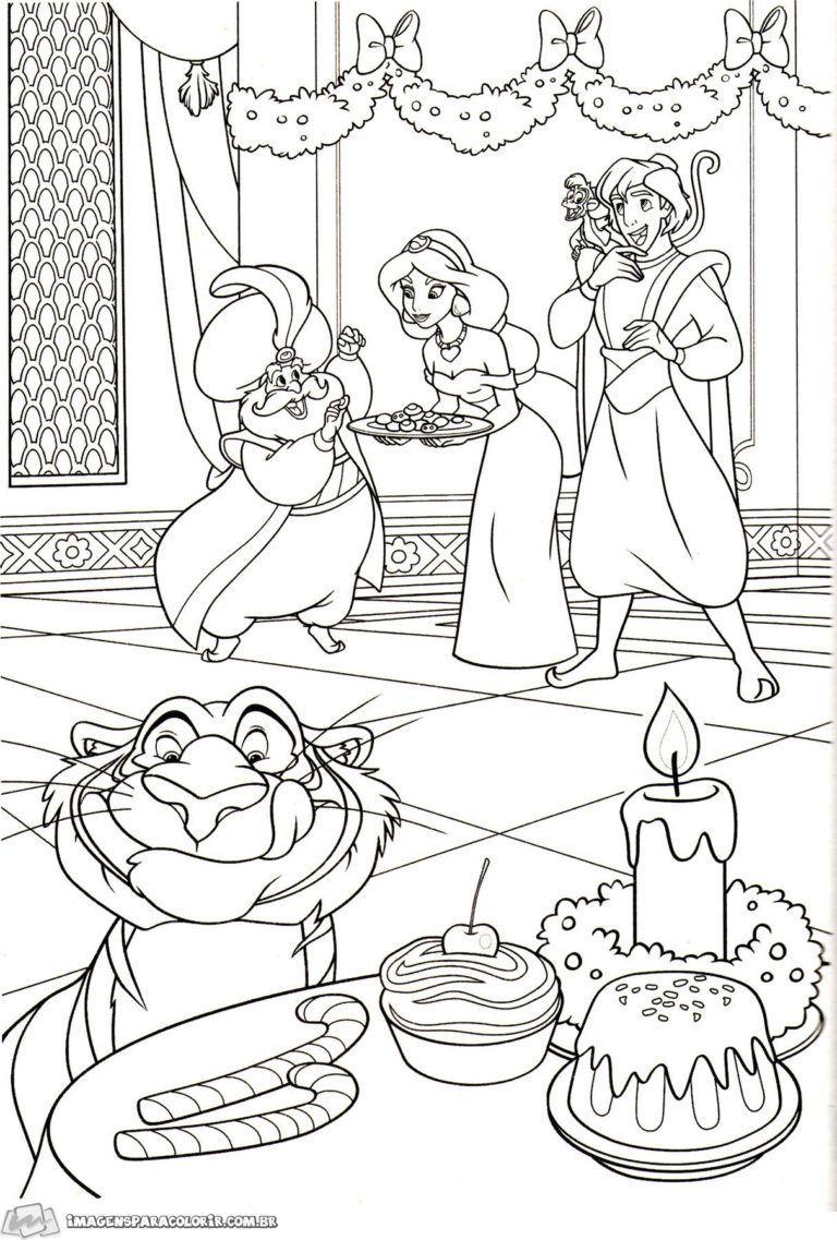 Aladdin Coloriage de noel à imprimer  Disney coloring pages