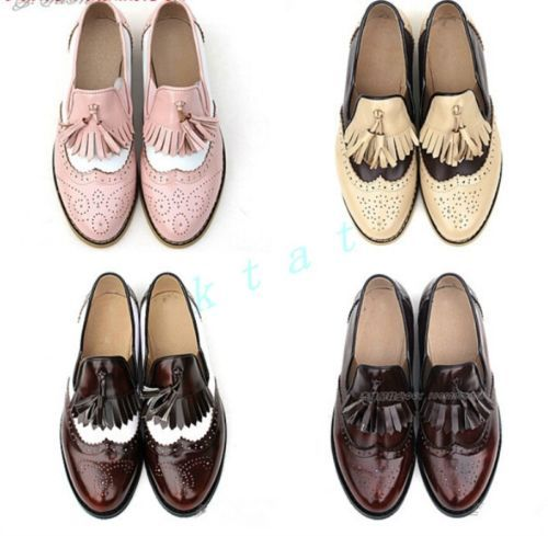 Ladies Stitching Colors Leather Pointy Toe Oxfords Lace Up Womens Brogues Shoes Ebay Women Oxford Shoes Hipster Shoes Oxford Flats