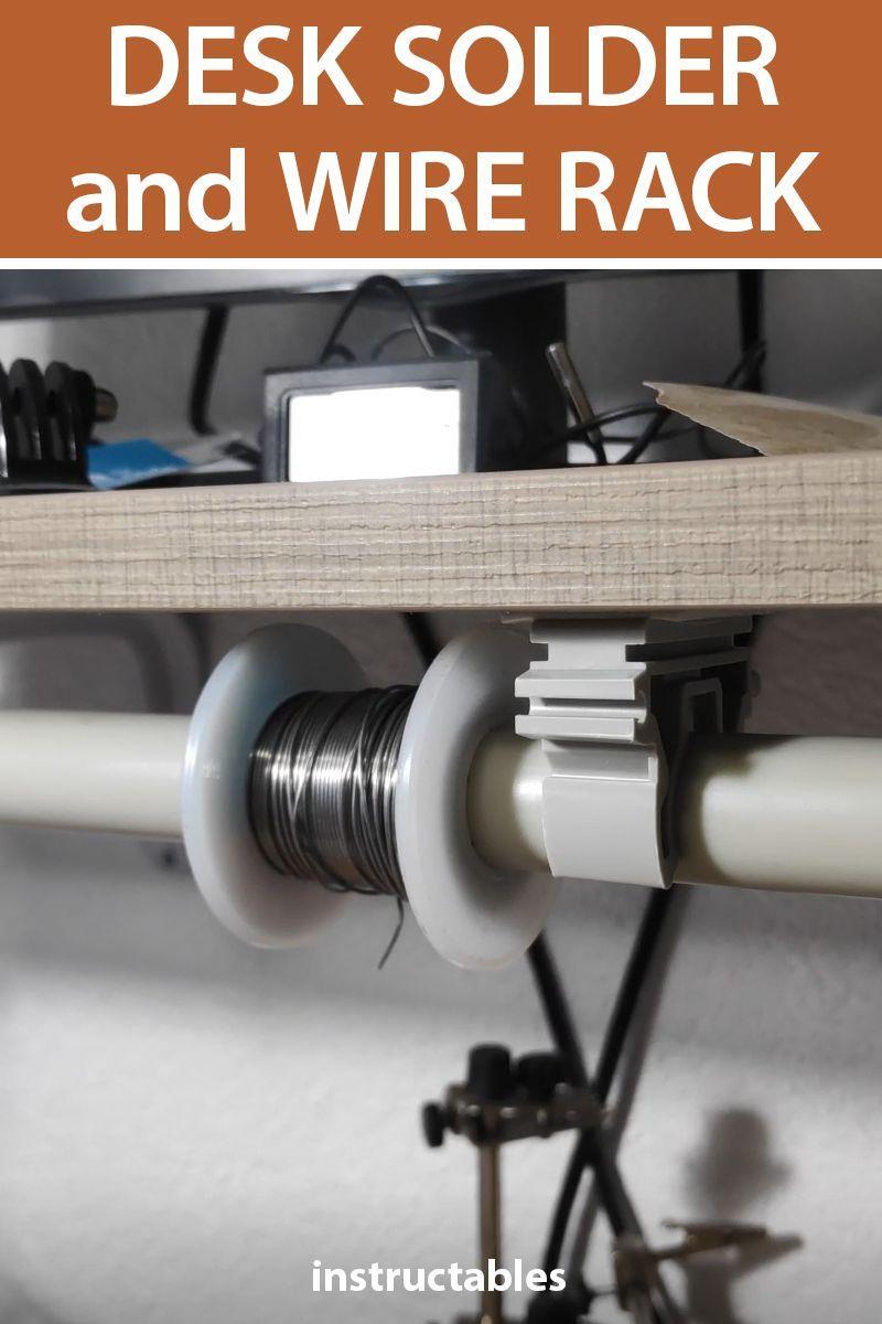 Wire Spool Rack Diy : spool, Solder, Computer, Desk,, Garage, Workshop,, Workshop, Layout