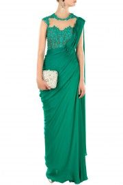 Jade green embroidered sari gown