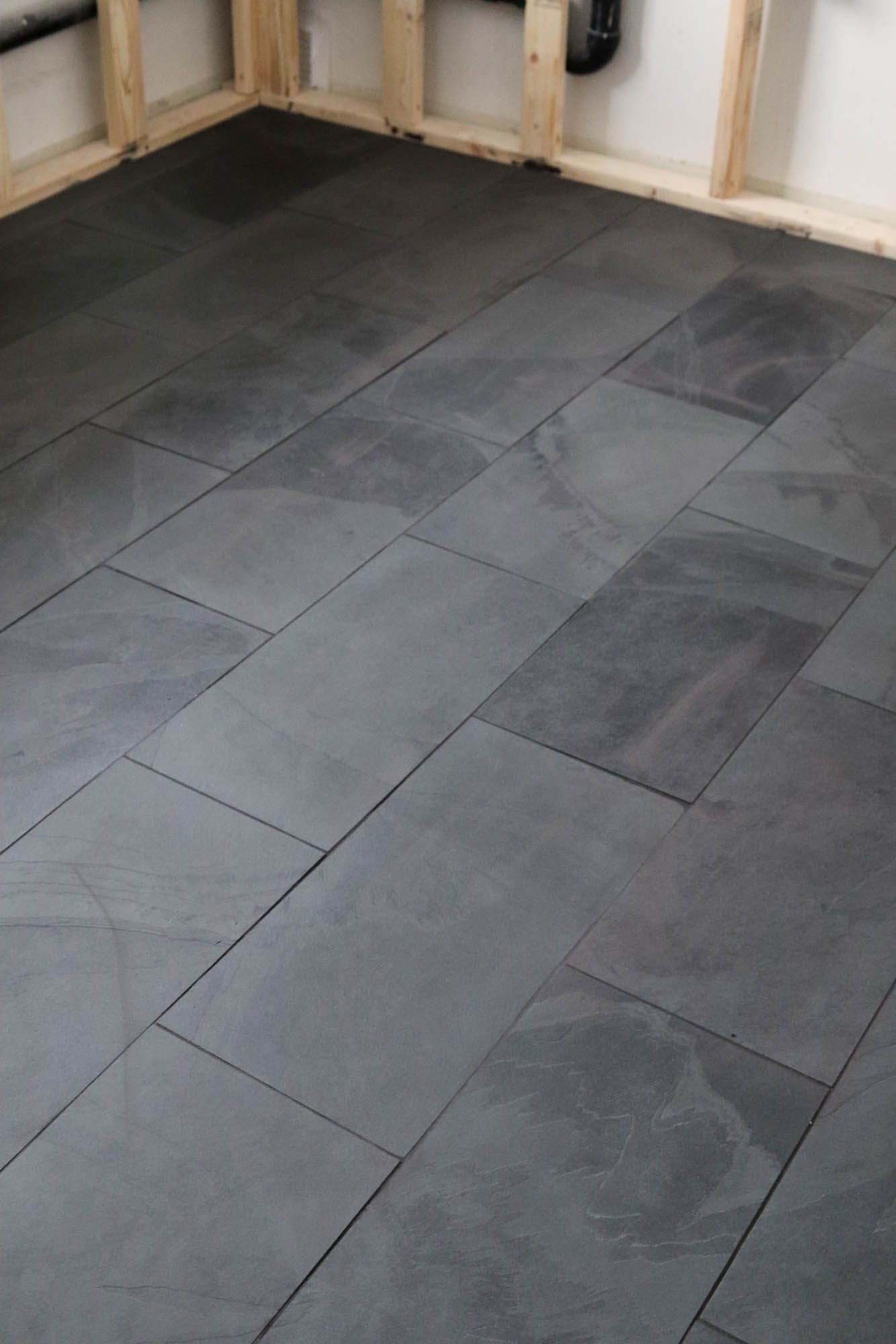 Black Tile In The Laundry Room Black Bathroom Floor Laundry