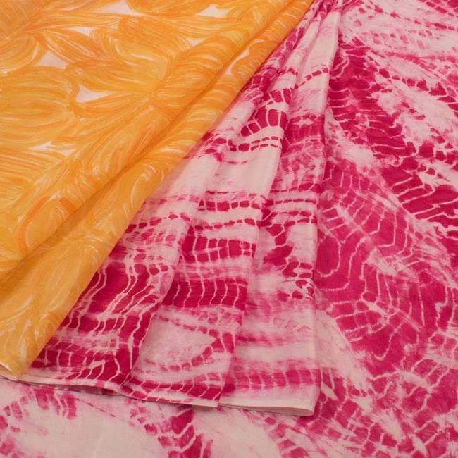 Batik Printed Satin Silk Saree With Floral Motifs