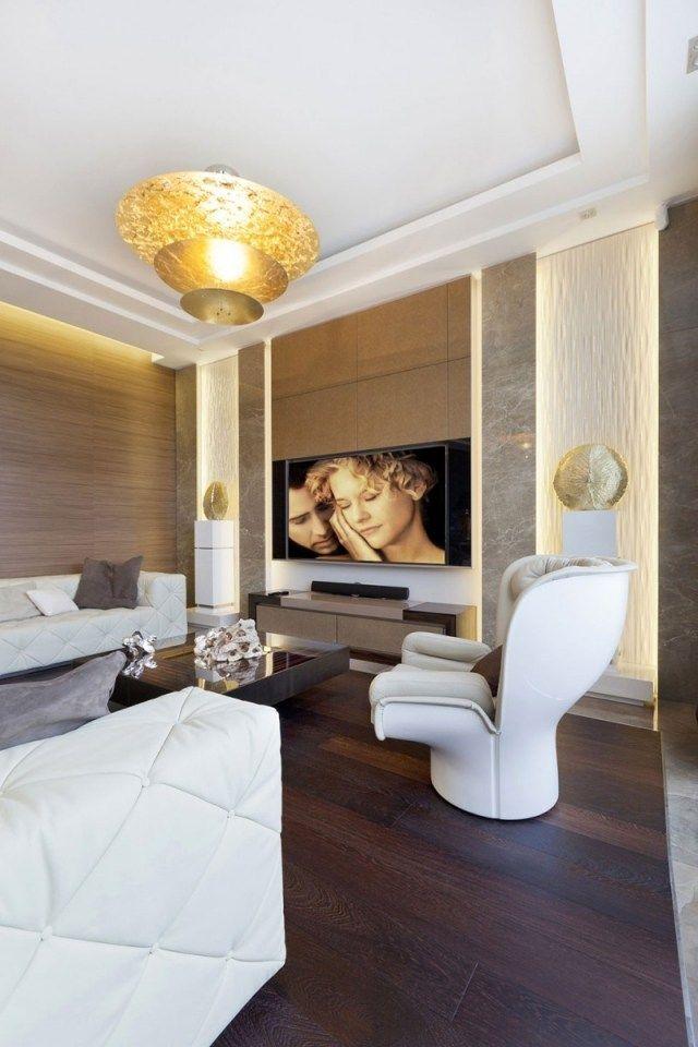 Modernes Wohnzimmer Dunkler Holzboden Ledermöbel Weiß