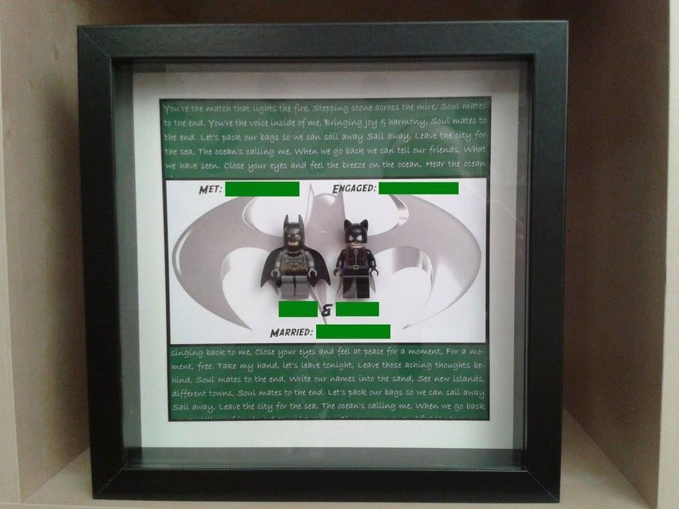 Lego Minifigure Wedding Gift Frame So Cool Batman Cat Woman