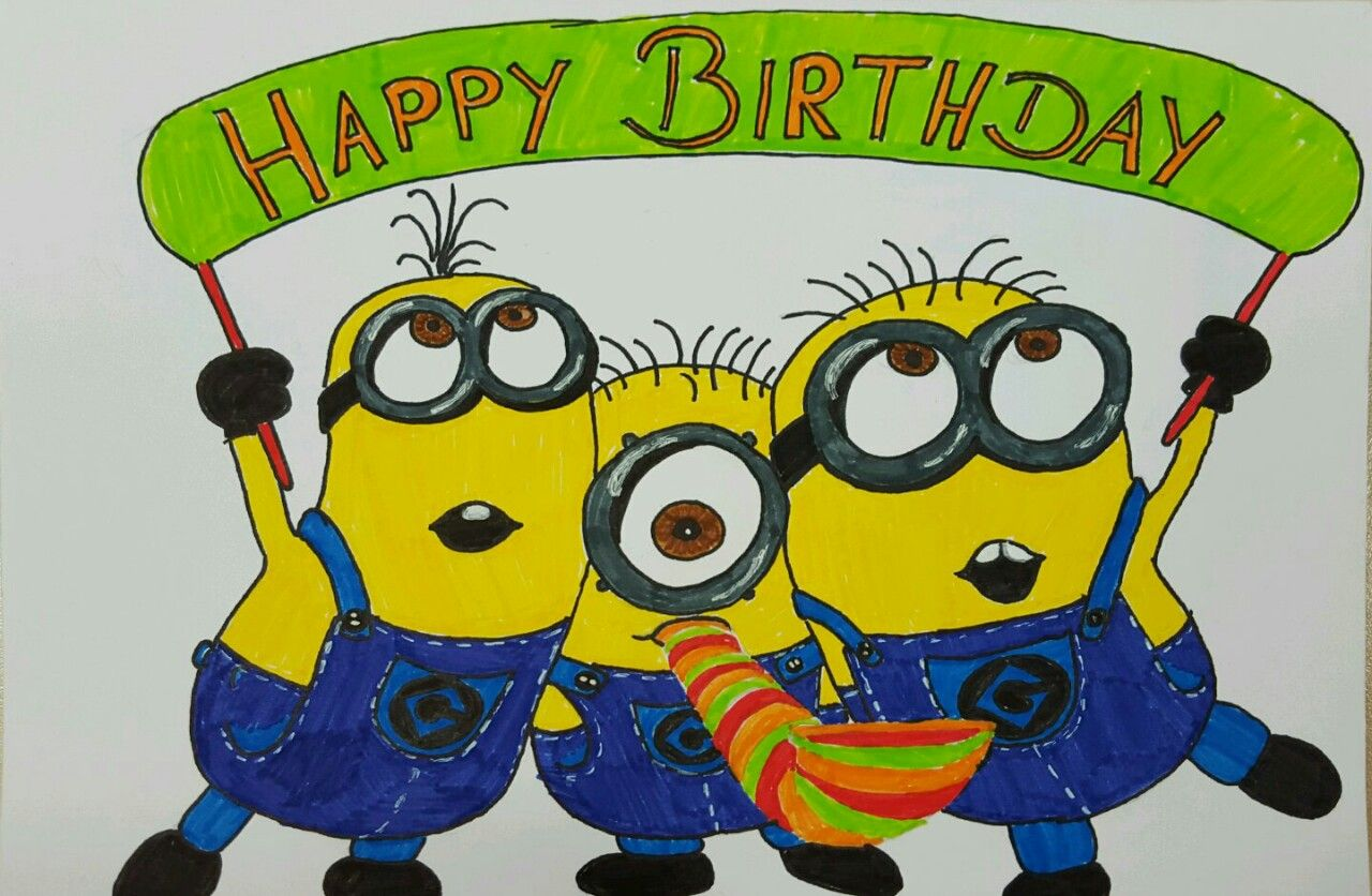 happy birthday geburtstag minions malen zeichnen gelb steffi malt pinterest minions. Black Bedroom Furniture Sets. Home Design Ideas