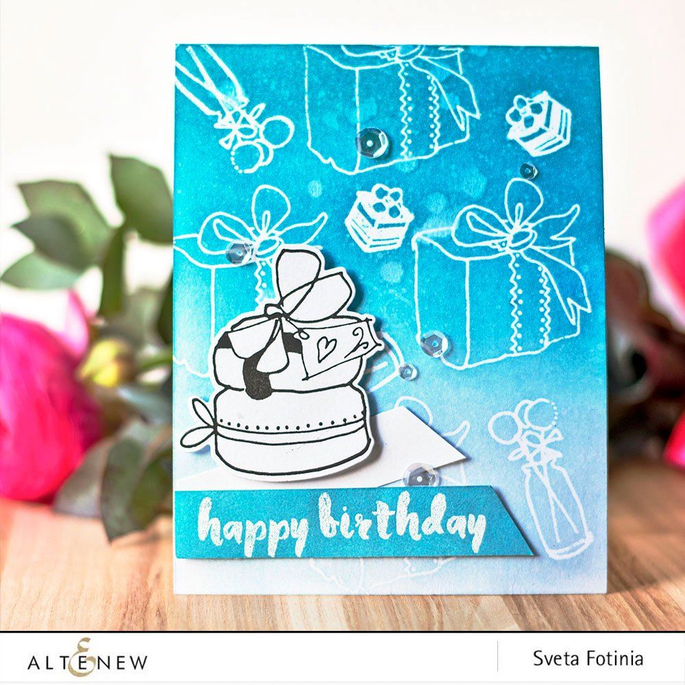 Turquoise Ombre Birthday Card Using Celebrations Stamp And Die