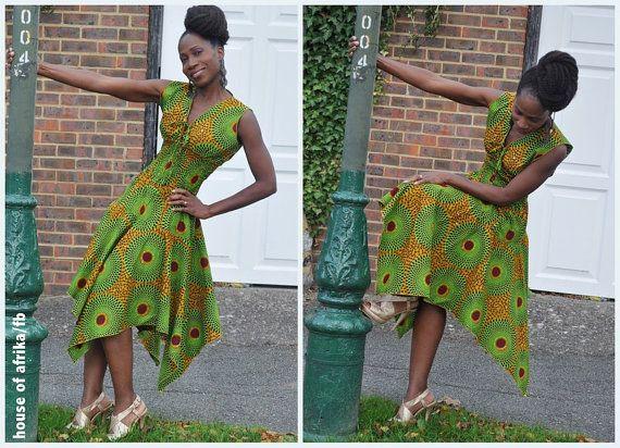 African Print Flare Sleeve Full Skirt Dress Fashion