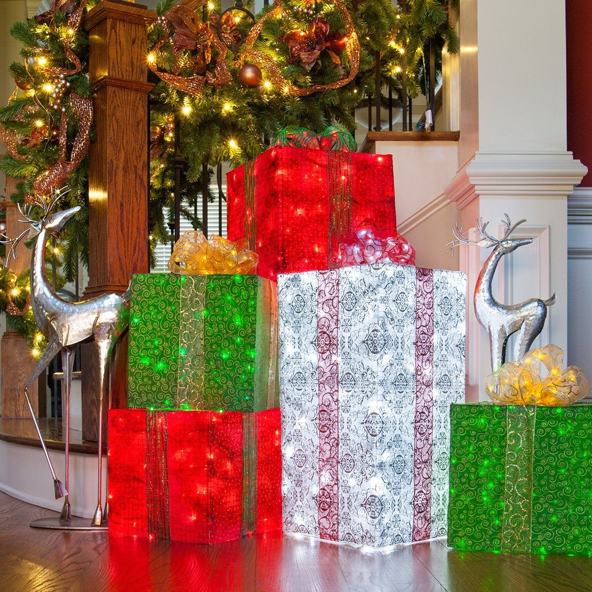 Chicken Wire Frame Lighted Gift Boxes - Christmas Lights, Etc