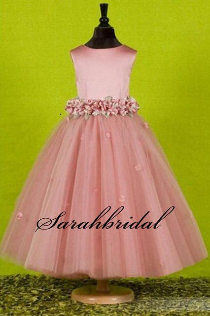 Nova chegada de moda doce cetim arcos menina vestido de festa linda flor cintura rosa andar de comprimento vestidos menina para o casamento 2016