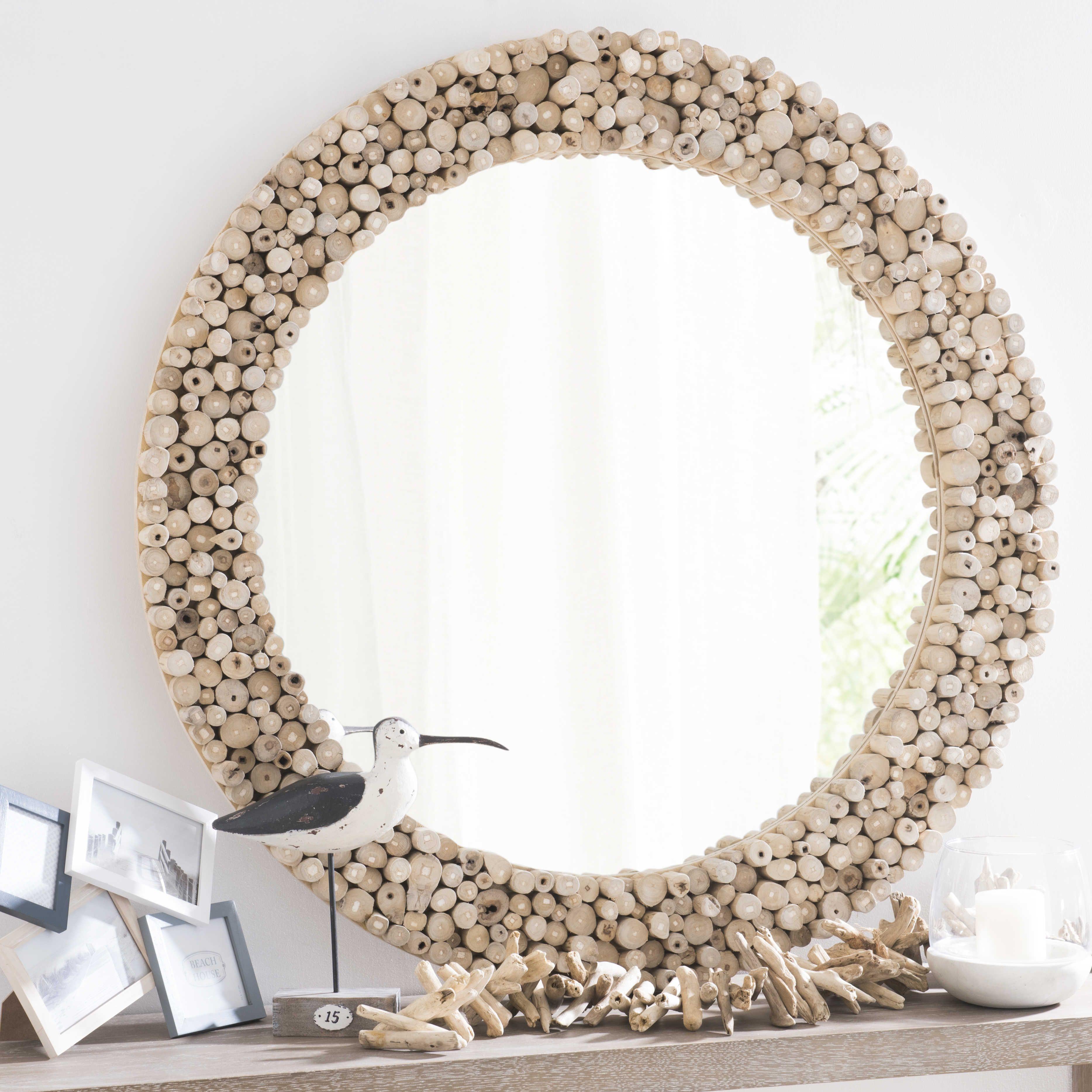 Jakarta Teak Round Mirror D 100cm Miroir Bois Flotte Miroir Bois Miroir Maison Du Monde