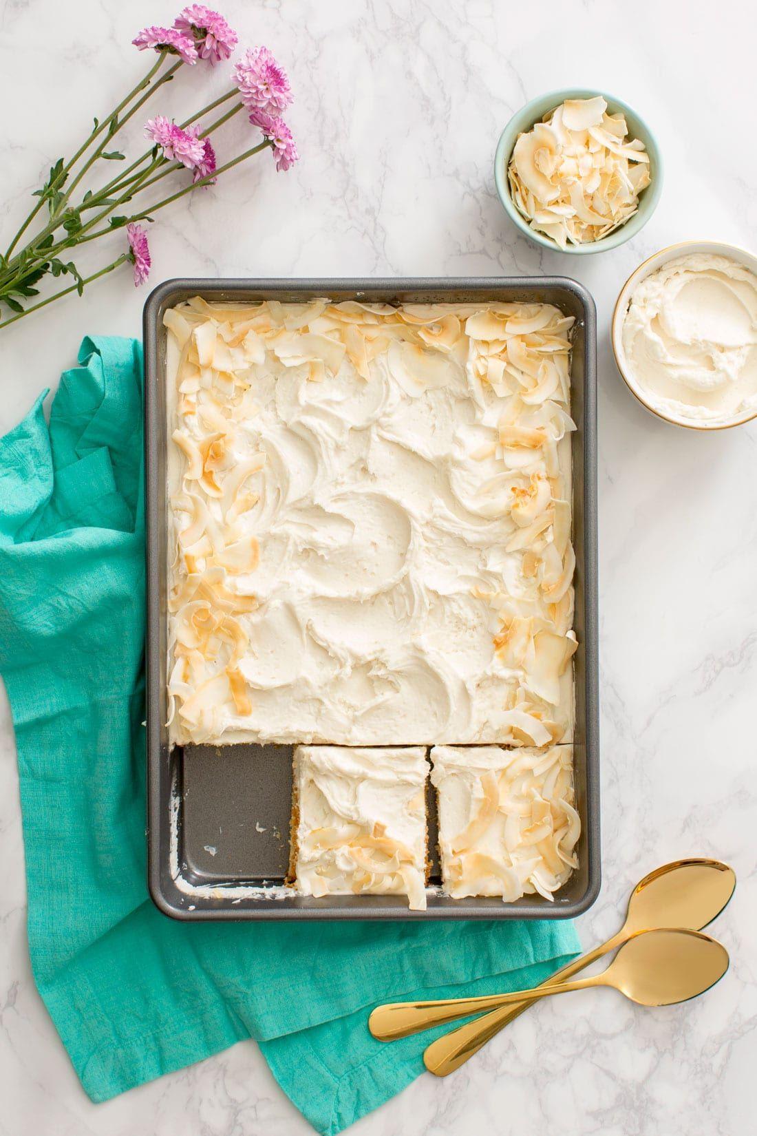 Simple DairyFree Coconut Sheet Cake Recipe Coconut
