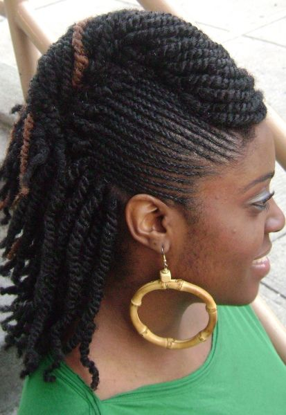 Twists braids with roll hairstyle - side | Roll hairstyle, Twisted ...