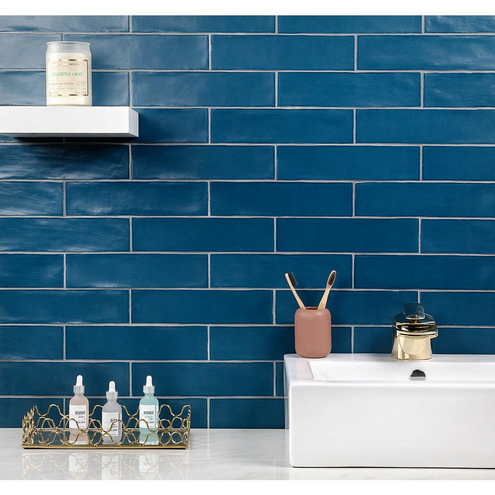 Ivy Hill Tile Strait Marina 3 In X 12 In 8 Mm Matte Ceramic Subway Wall Tile 22 Piece 5 38 Sq Ft Box Ext3rd100754 The Home Depot In 2020 Tile Bathroom Blue Bathroom Tile Blue Tile Backsplash