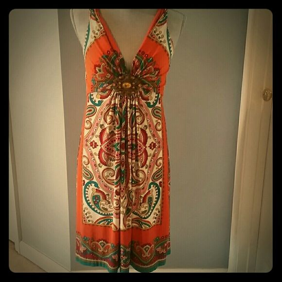 Orange green red Muse Dress. Paisley open back, LN Worn <5 x's. Beautiful detailing. Too big, so must go. muse Dresses