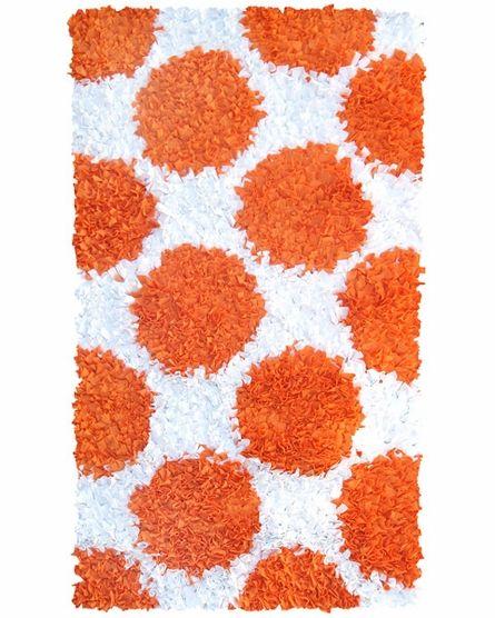 Polkamania Shaggy Raggy Rug In Orange And White Shag Rug