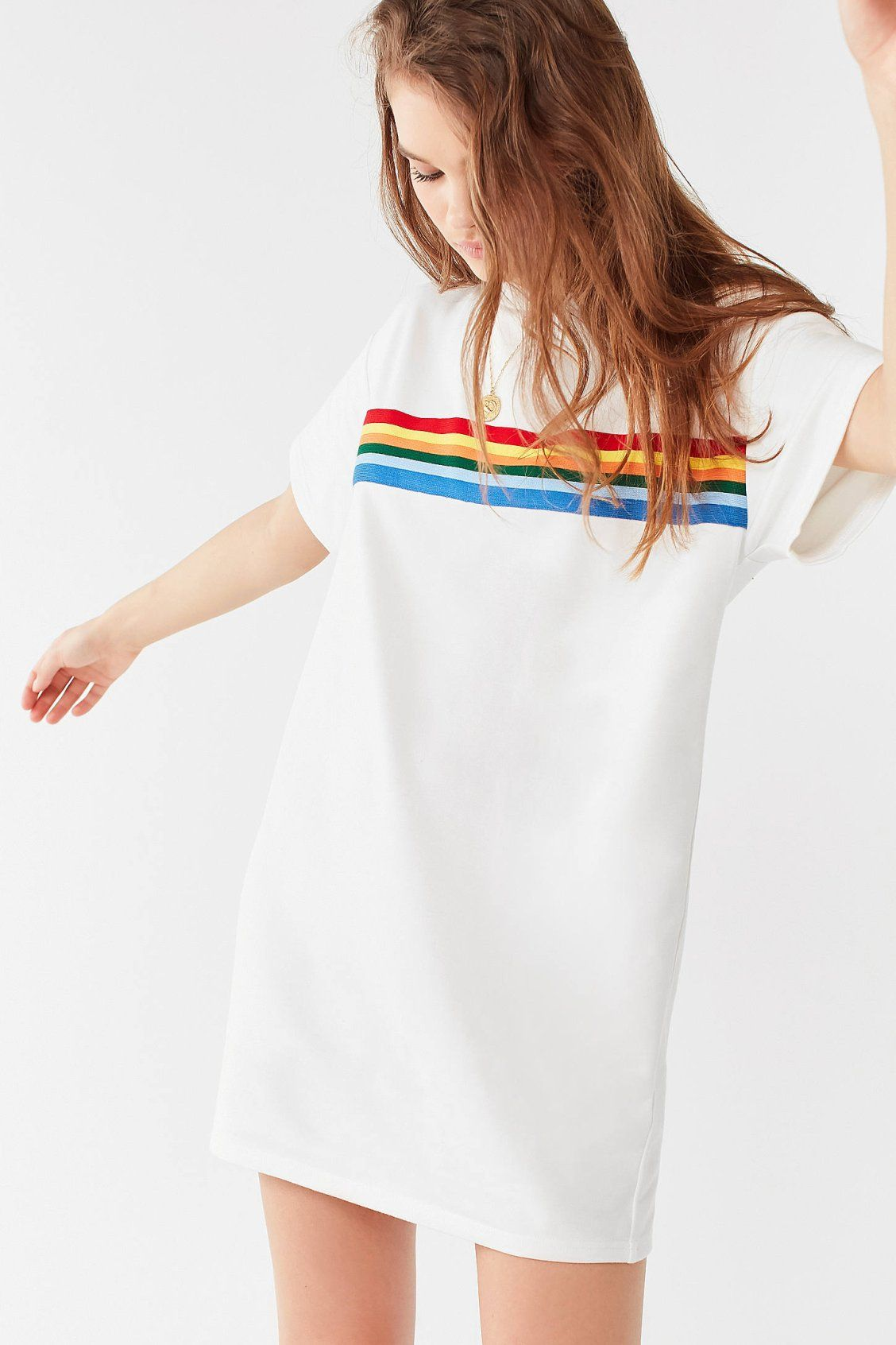 3b6d15172be UO Rainbow Striped T-Shirt Dress