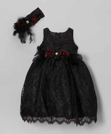 Take a look at this Black Lace Dress & Flower Headband - Toddler & Girls by Elena Collection on #zulily today!