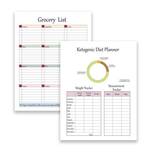 Keto Diet Planner for low carb diets Weekly diet planner meal planner grocery planner Measurement and weight tracker Recipe sheet  Keto Diet Planner for low carb diets We...