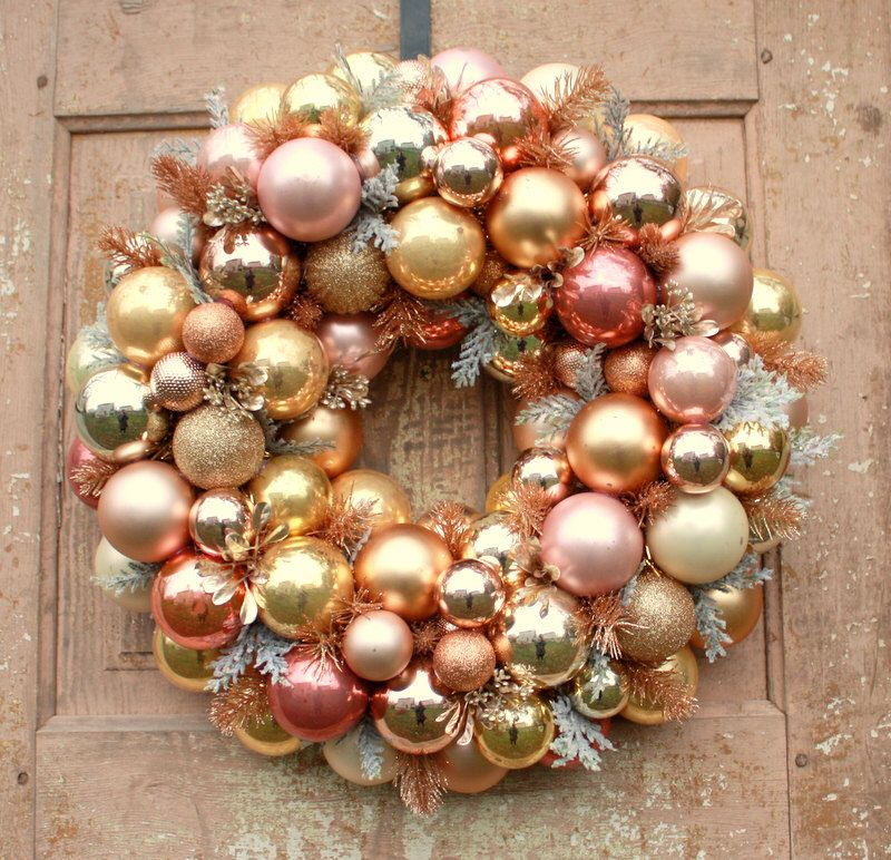 Ornament wreath, Rose gold Christmas wreath by