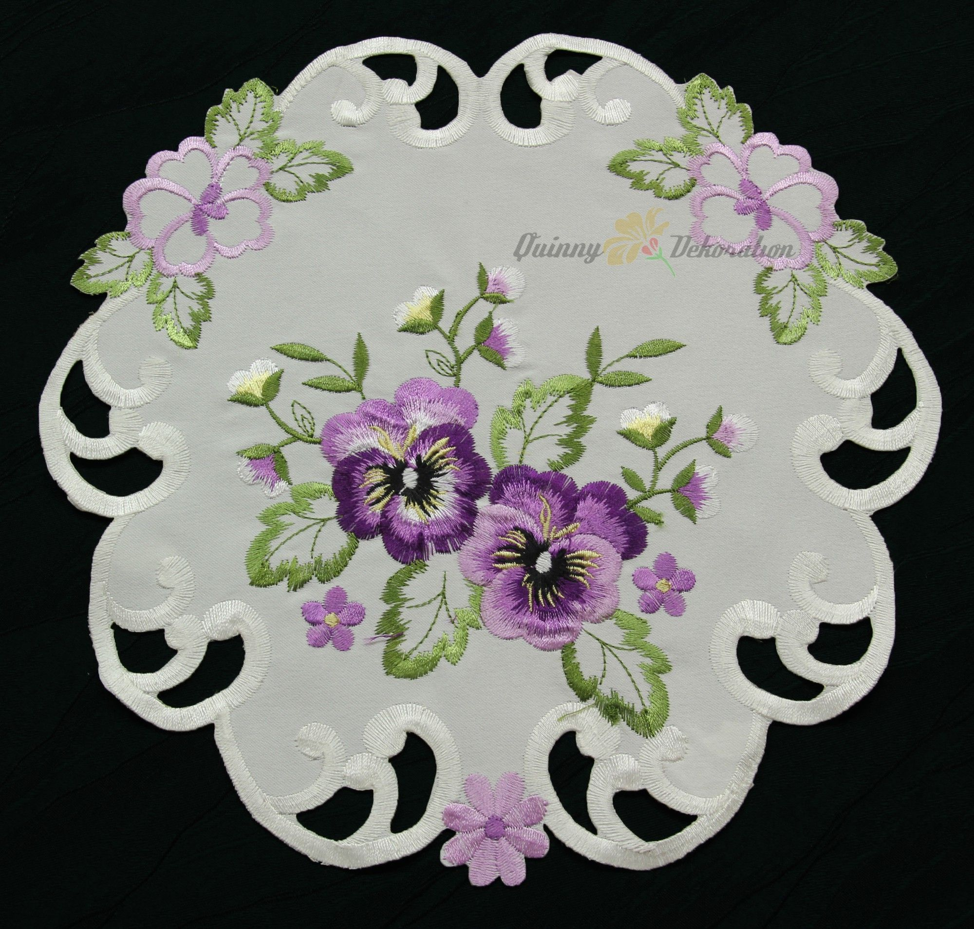 Table cover embroidery designs - Pansy Table Runner Doily Tablecloth Cushion Cover Cream Purple Flower Embroidery