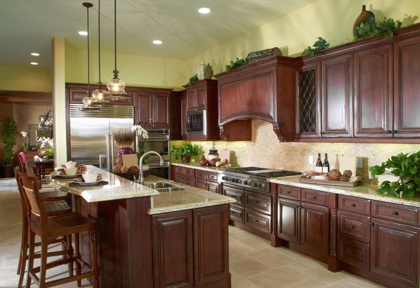 cherry wood cabinet kitchen with l shape design - Cherry Wood Kitchen Cabinet