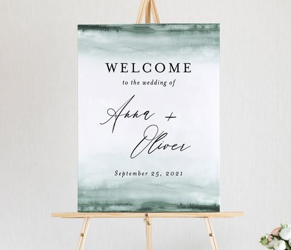 Turquoise Watercolor Welcome Sign Template Bridal Shower Welcome Sign Editable Printable Wedding Welcome Poster