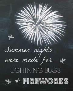Summer Chalk Print Fireworks Chalkboard Printable