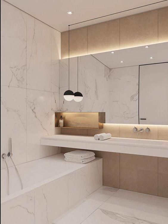 Photo of Wenn es um minimalistische Designideen geht, lieben wir es, weißen Marmor und … – Bathroom 3