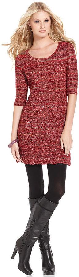 Kensie Dress, Three-Quarter Scoop-Neck Striped Knit thestylecure.com