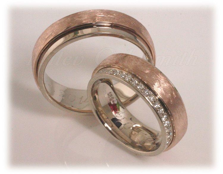 Trauringe hochzeit rotgold  eheringe rotgold | Trauringe/Eheringe IM304, ca. 41 Diamanten ...